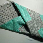 Серо-бирюзовый лоскутный плед-одеяло
