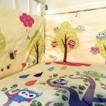 Яркие совушка оригинально смотрятся на детском постельном
