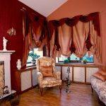 Австрийские шторы с бордовым ламбрекеном