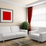 Бордовые шторы с тюлью и подхватами в светлый зал