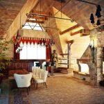 Бордовые шторы в готическом стиле для зала