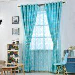Цветочные шторы в голубом цвете для гостиной