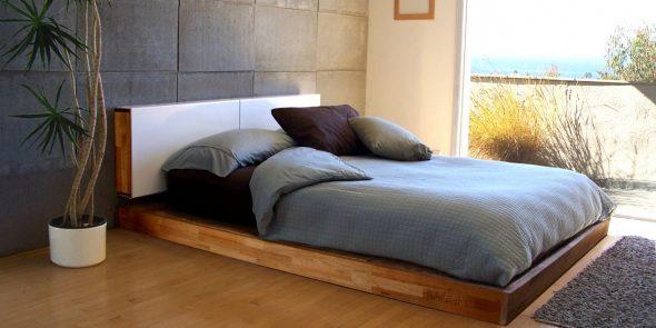 Деревянная кровать-подиум