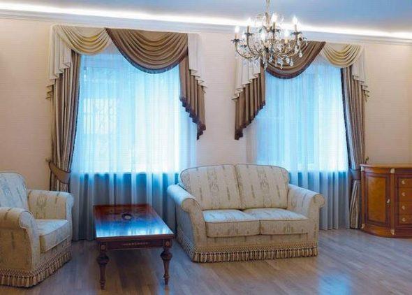 Голубой и коричневый для гостиной