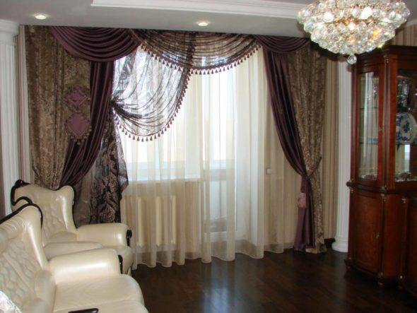 Декоративные шторы из разных тканей