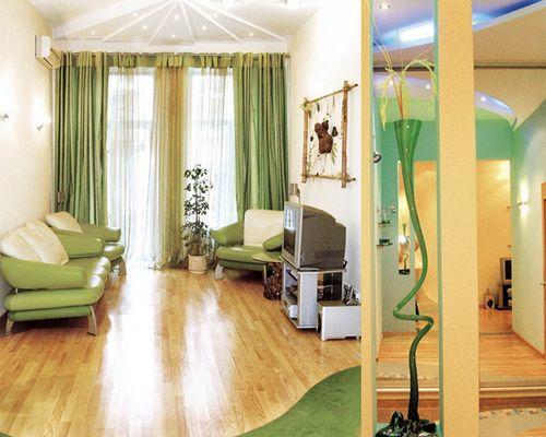 Фисташковые шторы в гостиную