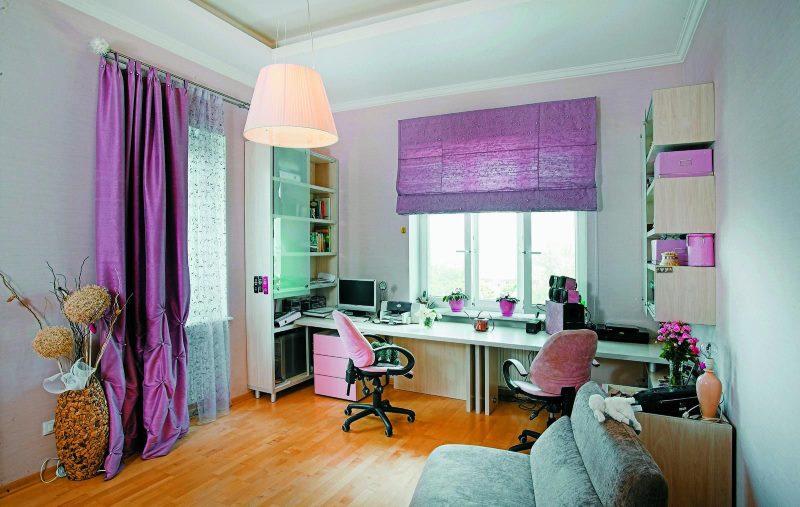 Фиолетовый текстиль в оформлении детской комнаты