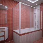 Защитный экран на металлическом каркасе в ванной комнате