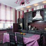 Фиолетовый цвет в интерьере кухни