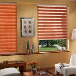 Морковные шторы на окнах гостиной