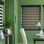 Зеленые стены в домашнем кабинете