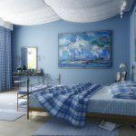 Голубой цвет поможет создать хорошую и спокойную атмосферу в спальне