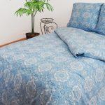 Голубой постельный комплект на двуспальную кровать