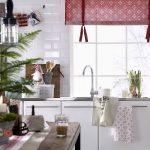 Китайская бордовая штора на кухню