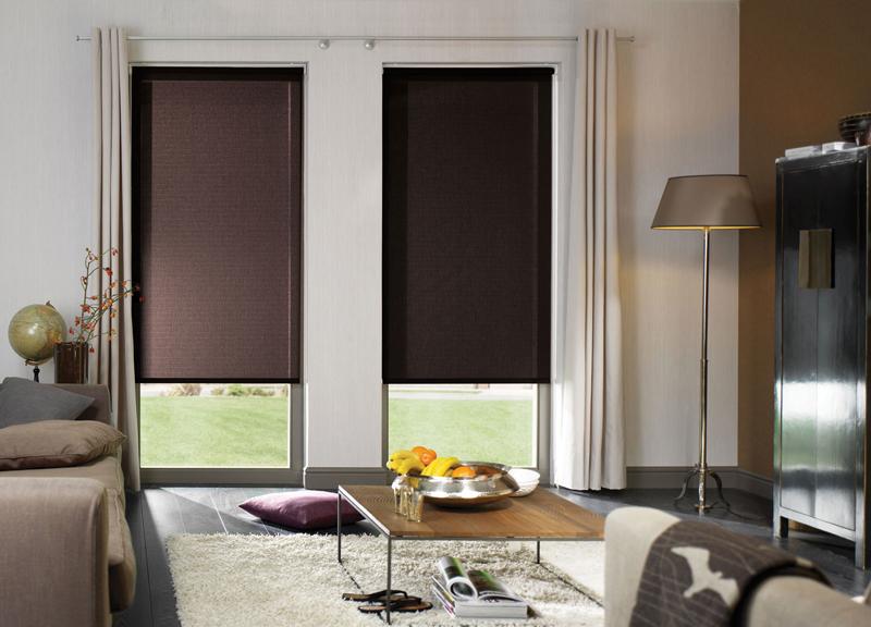 Коричневые рулонные шторы на окнах гостиной