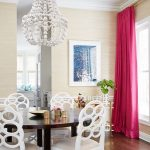 Малиновые шторы из плотной ткани для столовой