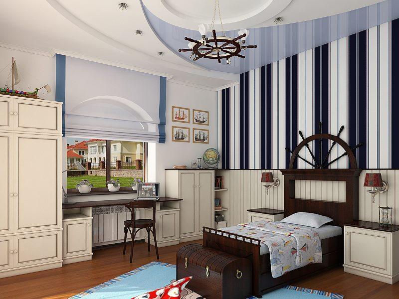 Дизайн детской комнаты для мальчика в морском стиле