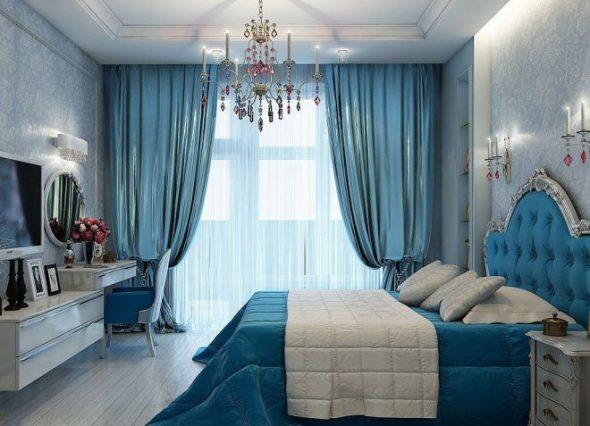 Небесно-голубые шторы