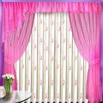 Оригинальные розовые шторы с ламбрекеном