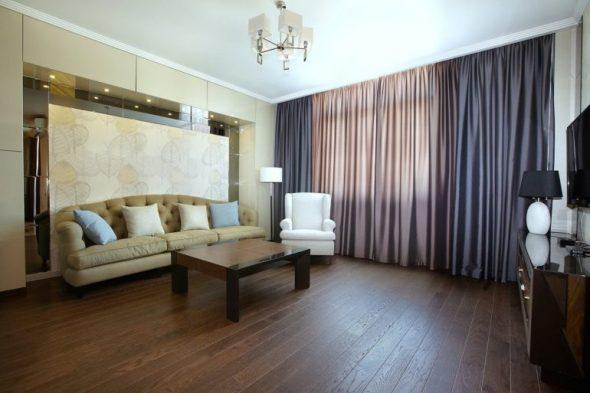 Отличное решение для гостиной - двухцветные шторы