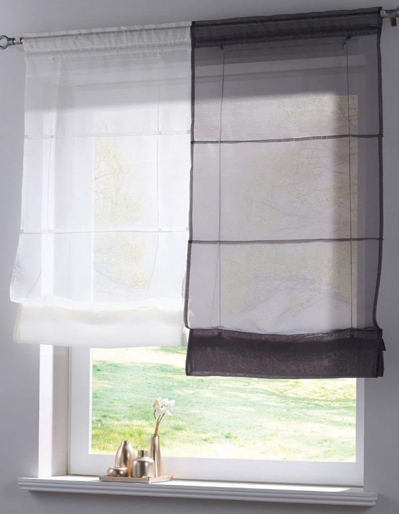 Легкие прозрачные шторы римского типа