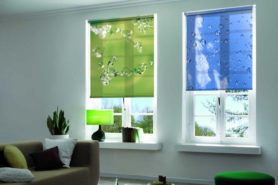 Разноцветный рулонные шторы с фотопечатью на окнах гостиной