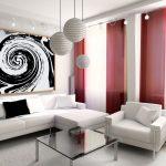 Потолочные бордовые шторы к белой мебели в зал