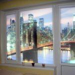 Пластиковое окно с рулонными шторами с фотопечатью
