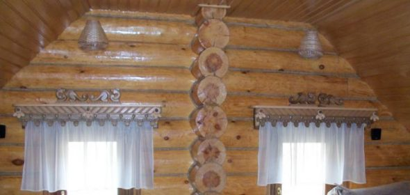 Карнизы из дерева в интерьере