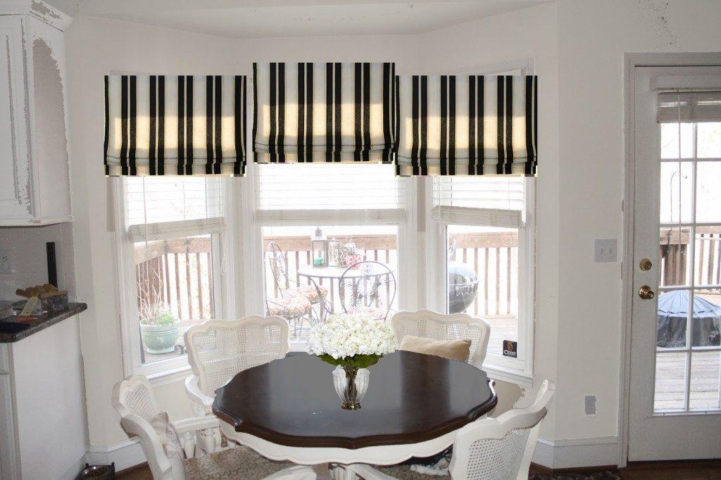 Полосатые шторы римского типа на кухонном окне в эркере