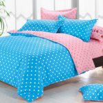 Розово-голубой постельный комплект