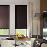 Рулонные шторы с направляющими на окнах гостиной