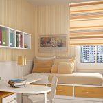 Полосатая штора рулонного типа на окне детской комнаты