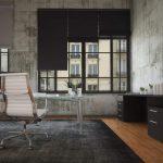 Интерьер комнаты с бетонными стенами в индустриальном стиле