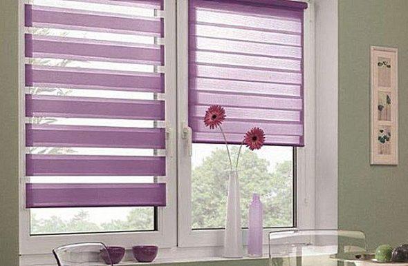 Рулонные шторы сиреневого цвета