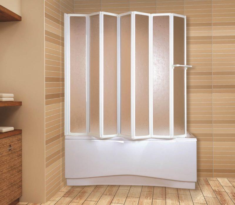 Дизайн ванной комнаты со шторкой-гармошкой