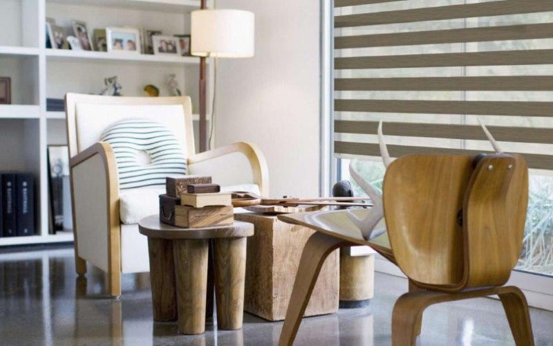 Интерьер гостиной в стиле эко с рулонными шторами зебра
