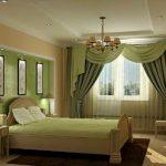 Шторы для спальни с ассиметричным ламбрекеном