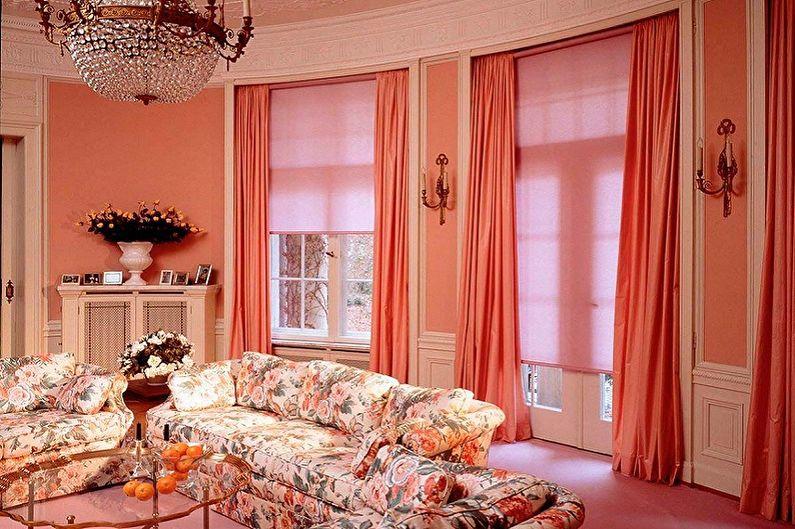 Интерьер гостиной в розовых оттенках