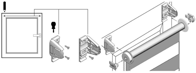 Установка рулонной шторы Зебра на пластиковую раму с помощью шурупов