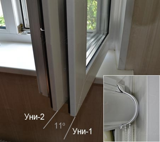Угол открывания створки окна с различными типами рулонных штор