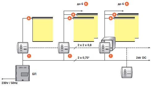 Схема подключения электропривода рулонной шторы через блок выключателей