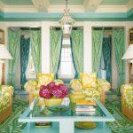 Вся гостиная выполнена в сине-зеленой гамме