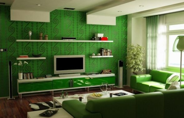 Яркая гостиная в зеленом цвете