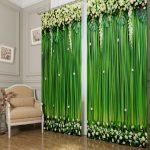 Яркие зеленые шторы с цветочными рисунками