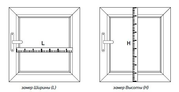 Схема проведения замера ширины и высоты шторы день ночь