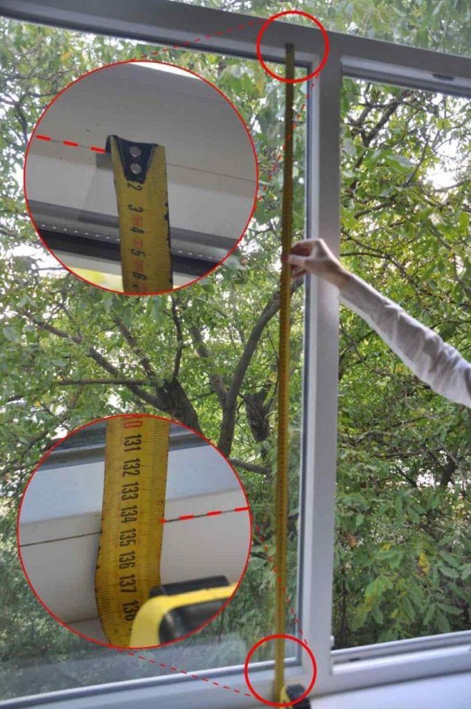 Замер высоты рулонной шторы открытого типа