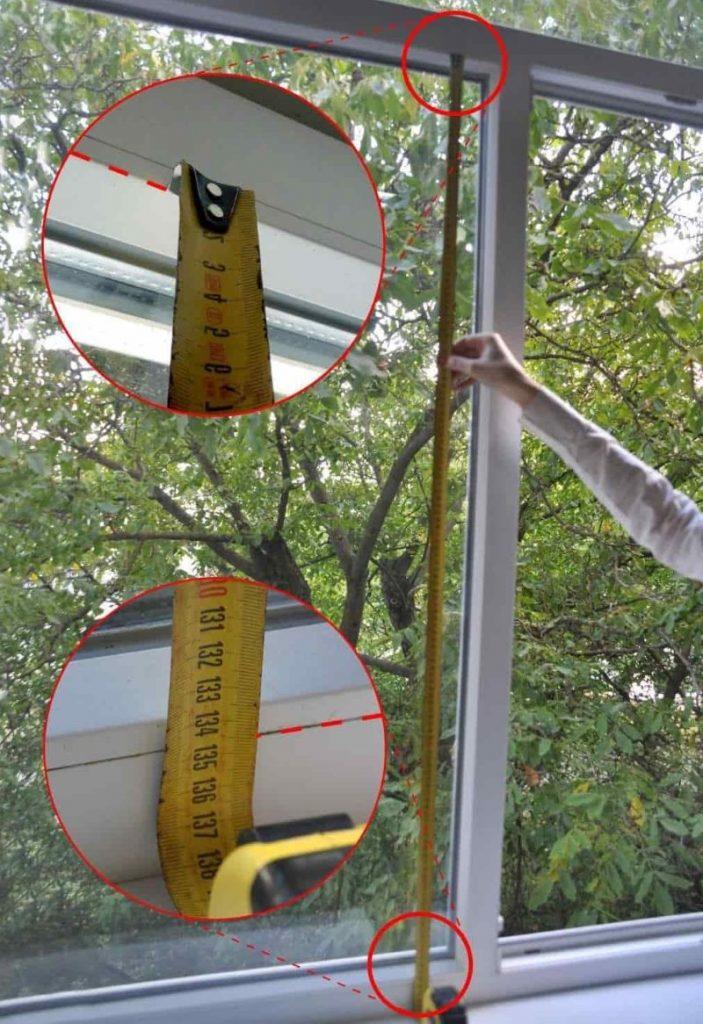 Замер высоты рулонной шторы с направляющими