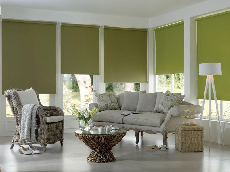 Зеленые шторы рулонного типа на окнах гостиной