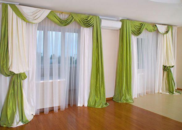 Зелено-белые шторы